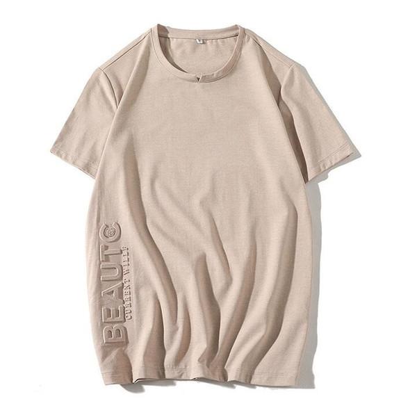 Boa qualidade homens verão camiseta manga curta solta hip hop t-shirt dos homens moda estereoscópica letras de algodão camisetas
