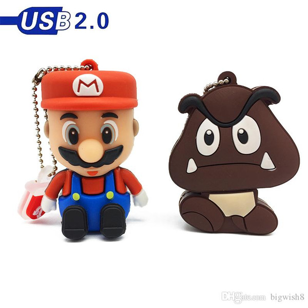 Happy 2P usb 2.0 usb falsh drive 128gb usb memory disk 4gb 8GB 16GB 64GB pen drive stick Super Mario 32GB Pendrive cute cartoon free ship