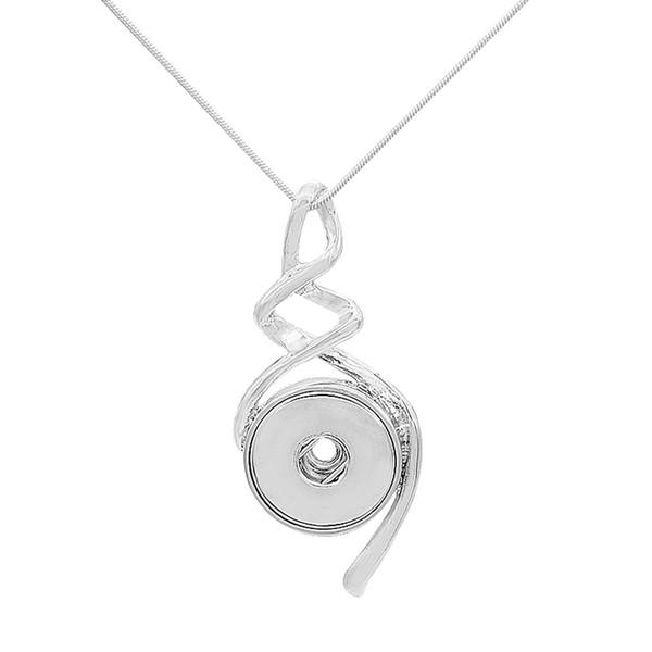2019 New Snap Jóias de prata em espiral Pingente Snap Colar 18mm Botão Mulheres Jóias Pingente de Colar Com 46 cm Correntes