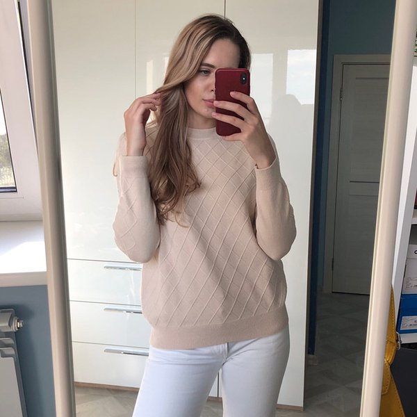 Plaid Sweater Women Winter Thicken Pullover 2019 O Neck Knitted Vintage Wild Oversized Pink White Chic Casual Jumper