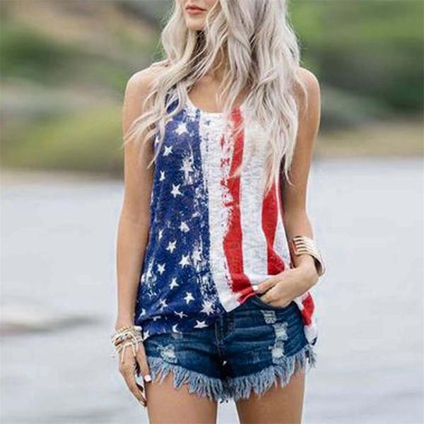 YENI varış t gömlek Bayan Kolsuz Yelek Yurtsever Stripes Yıldız Amerikan Bayrağı Baskı yaz serin tshirt kadın giyim 2019