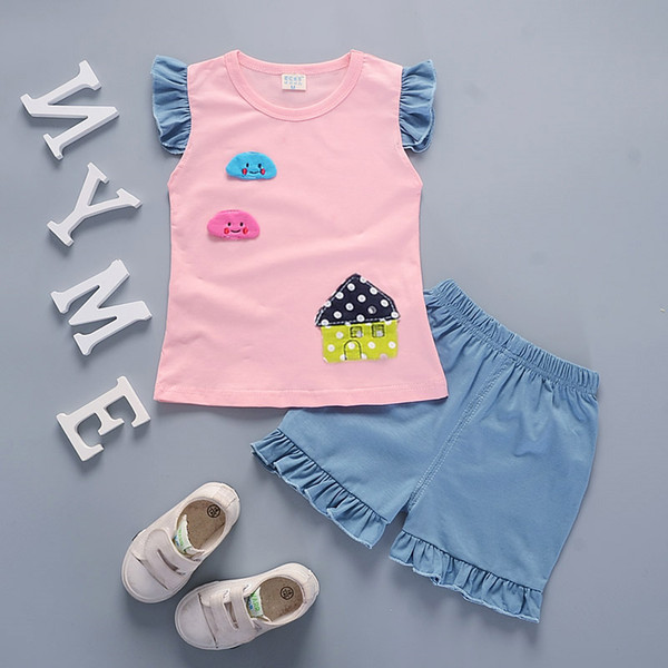 Fashion 2019 Children Boys Girls Clothing Suits Summer Baby Vest Shorts 2Pcs/Sets Patch Star Kids Active Toddler Tracksuits