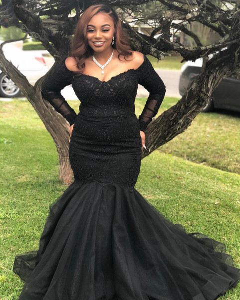 Black Plus Size Prom Dress 2019 Off The Shoulder Mermaid Long Sleeves Long  Evening Gowns Abiti Da Cerimonia Da Sera Prom Party Gowns Unusual Prom ...