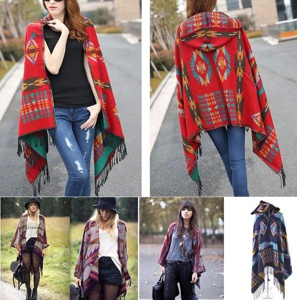Retro Bohemian Geometric Shawl Scarf Poncho Tribal Fringed Coat Hoodies Jacket Striped Cardigans Blankets Cape Shawl 7 Styles
