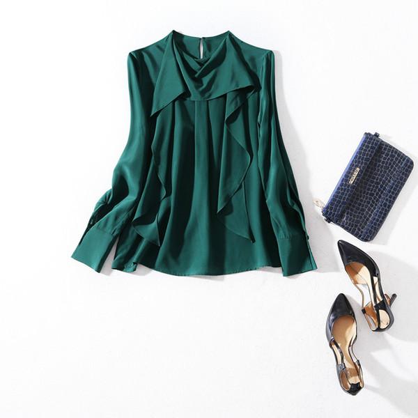 2019 Ladies Luxury Newest Pure Color Asymmetry 100% Silk O Neck Blouse Women Long Sleeve Fashion Elegant Shirt Shirts N30BBS81200