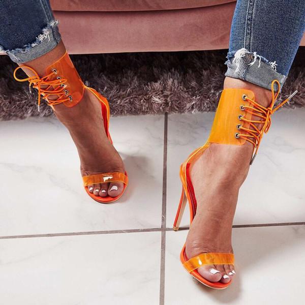 Laranja Mulheres Sapatos Bombas Sandálias Transparentes 11 CM Bombas de Salto Alto Sexy Lace-Up Senhoras Sapatos de Festa 2019 Tamanho 35-43 mulheres