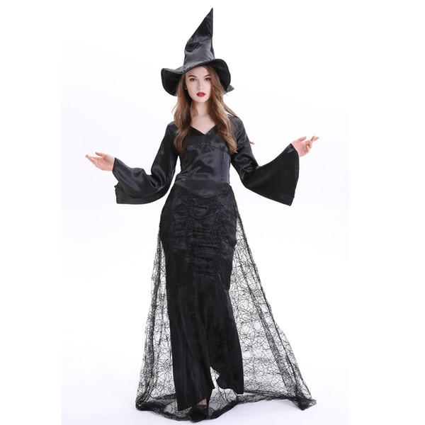 Costume sexy di Halloween Spider Witch Costume nero vestito da partito Cosplay per donna adulta costumi di Halloween