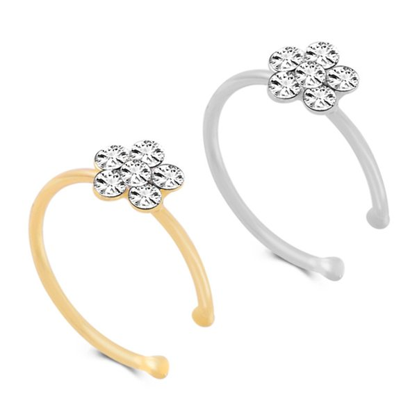 BOAKO Fashion Crystal Nose Ring Indian Flower Nose Stud Hoop Septum Clicker Piercing Clip Rings Body Piercing Jewelry B3