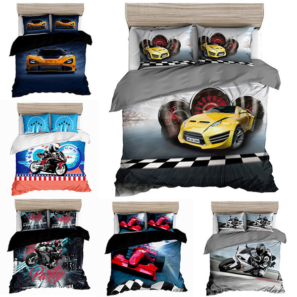 best selling Kids Bedding Sets 3D Printing Cartoon Cars Plane Single Twin Full Queen King Guilt Cover Duvet Cover Pillow Cases Sheet Sets 2-3-4pcs L0215