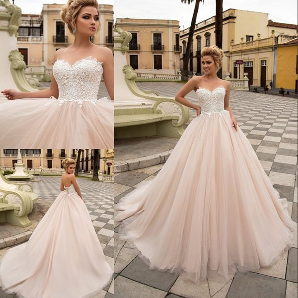 Champagne Ball Gown Wedding Dresses abito da sposa Sweetheart Neck Sleeveless Bridal Gown with Appliques Lace Tulle Bride Dress 2020