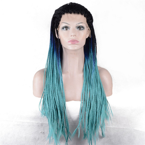Women's Lace Front wig Plait Hair Synthetic Light Bluer Ombre Long Braiding African American Wigs