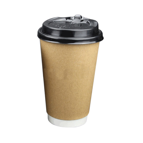 200pcs disposable cup with lid Double Layer Kraft 400ml Paper Coffee Cups with 90mm Disposable Dome Switch Lids