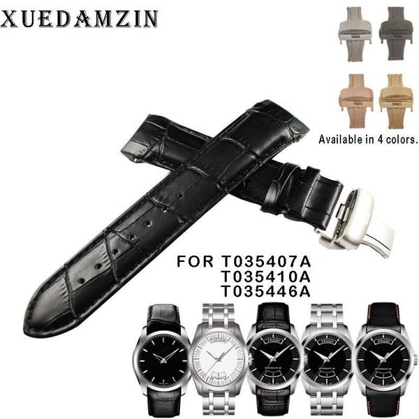 22mm (Buckle 20mm) Für T035407A T035410A T035446A Qualitäts-Schmetterlings-Buckle + echtes Leder Curved Armband Gürtel Ende