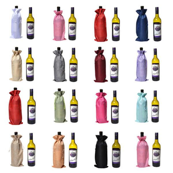 Bouteille de vin Covers Champagne vin Emballage Sacs cadeaux Sac Jute de Noël Porte de mariage Dîner de Noël Coupe DecorationsT2I5433