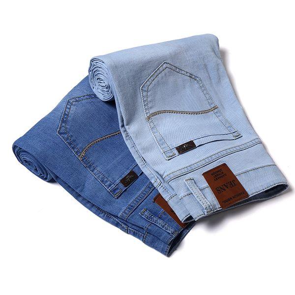 2019 Summer New Men blue/Light Jeans Business Casual Stretch Slim Denim Jeans Light Blue Trousers Male Brand Pants Plus Size