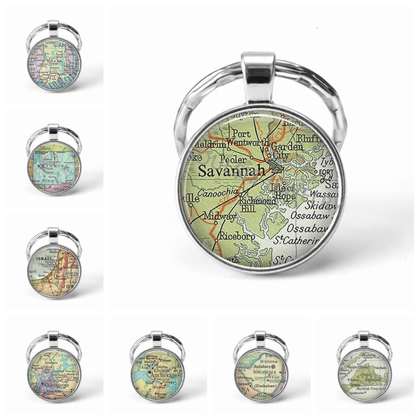 Newest Metal Keychain Handmade Vintage Israel World Map Earth Geography Key Chain Glass Dome Keychains For Men Women Gift