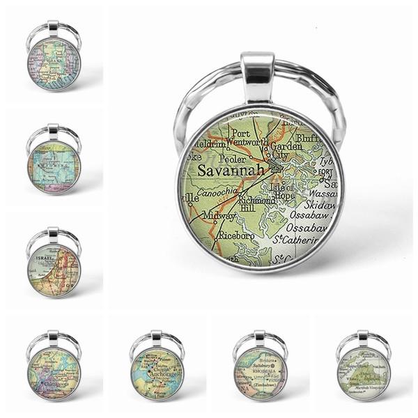 Новые цепи металла брелок ручной работы Vintage Израиль Карта мира Земли География Key Стеклянные купола Брелки для мужчин женщин Подарок