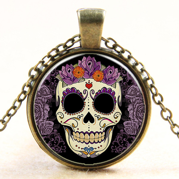 Crystal Glass Cabochon Dome Skull Pendant Necklace Gift for Women and Men Clothes Accessory Wholesale Jewelry wholesale Free shipping