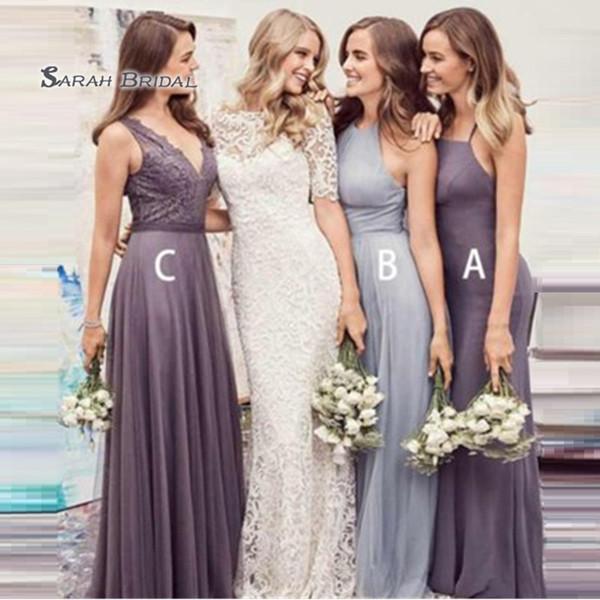 top popular 2020 Elegant A Line Dress Chiffon Floor Length Sleeveless Wedding Occasion Bridesmaid Dress robes de soirée 2020