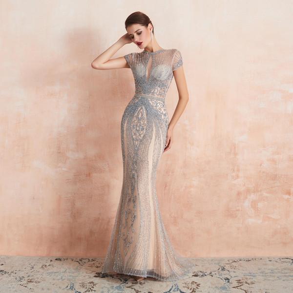 2020 Luxe Sheer Jewel Cou Sirène Manches Courtes Etage Longueur Soirée Porter En Stock Haut De Gamme Occasion Perlée Robe De Bal 99356