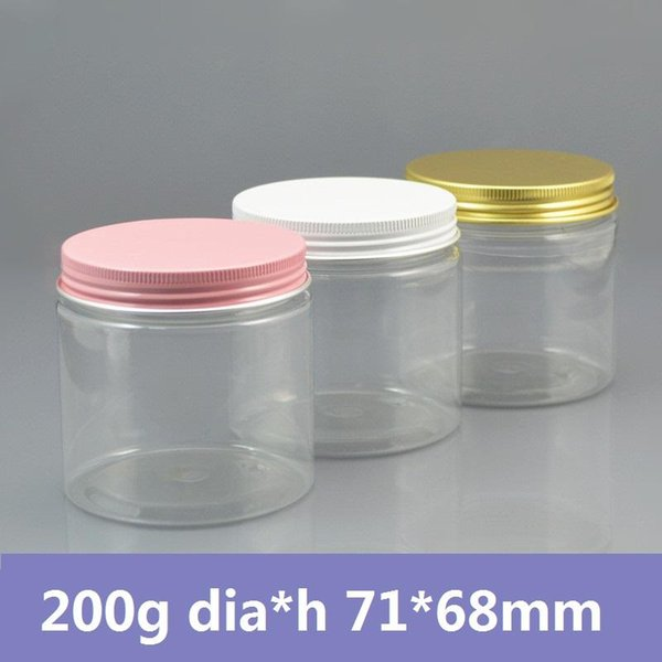 Al por mayor- 42pcs / lot 200g Tarro de plástico con contenedor de crema PET / tapa de aluminio dorado / blanco / rosado, plástico de PET transparente puede, Tarro cosmético