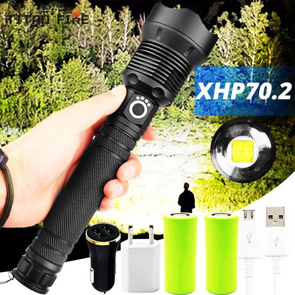 top popular led flashlight 90000 lumens xhp70.2 most powerful flashlight 26650 usb torch xhp70 lantern 18650 hunting lamp hand light 2021