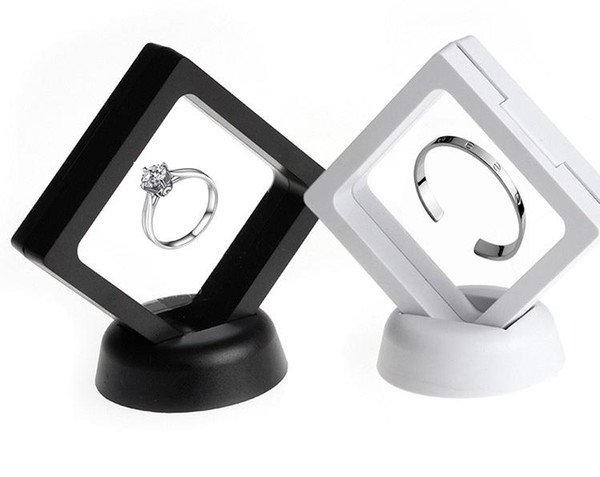 PET Membrane Jewelry Ring Pendant Display Stand Holder Bague Packaging Box Protect Jewellery & Stones Floating Presentation Case SN2032