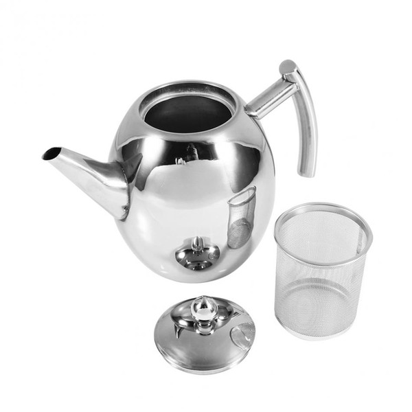 top popular 1 1.5L Durable Stainless Steel Teapot Coffee Pot Kettle With Filter Large Capacity Puer Tea Bag Green Oolong Tea Tieguanyin Preference 2021
