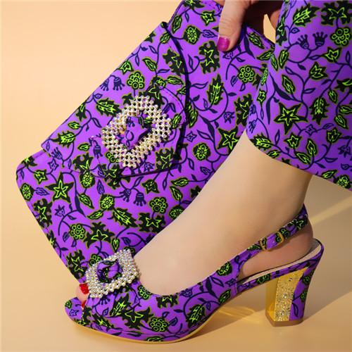 2019 Purple Shoes Flowers Printed Leather with Women Bag set Women Shoes Pumps With Matching Clutch Bags Sets 38-42 Hot Selling