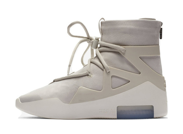 Hottest 2018 Authentic Air Fear of God 1 Stiefel Light Bone Grey Black Zoom 1S Männer Basketballschuhe AR4237-002 Sneakers mit Originalverpackung