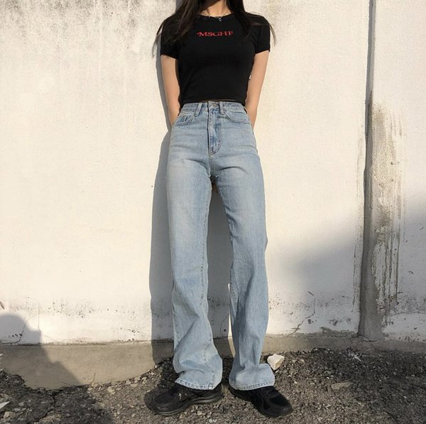 DIAOOAID 2019 New Boyfriend Wide Leg Jeans Loose Washed High Waist Denim Jeans for Women Simple Personality Female Trousers