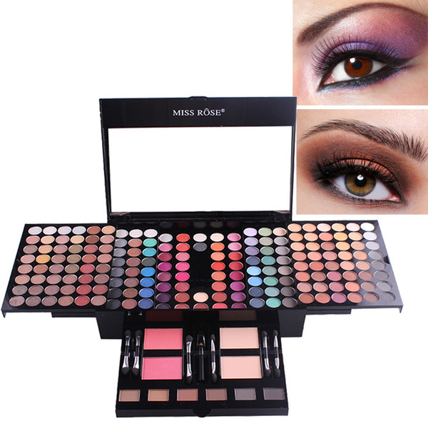 180 colors makeup palette blush eye shadow pressed powder with double heads brush cosmetics case ing