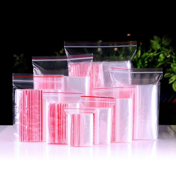 100 Pcs Mini Plastic Ziplock Bags Jewelry Zipper Zip Lock Plastic Bags For Packaging Thick Clear Dustproof Storage Bag