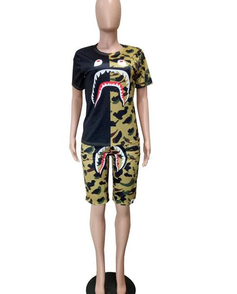 NEW 2020 Women Sportswear Hoodies camouflage Print Sweatshirt + Pants Two-piece Set Women Jogging Sport Suit for Ladies Leisure Tracksuit