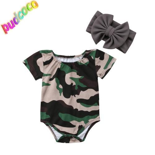 2019 Nouveau-né Enfants Bébés filles Camouflage Romper Jumpsuit Tenues Set Vêtements Hot