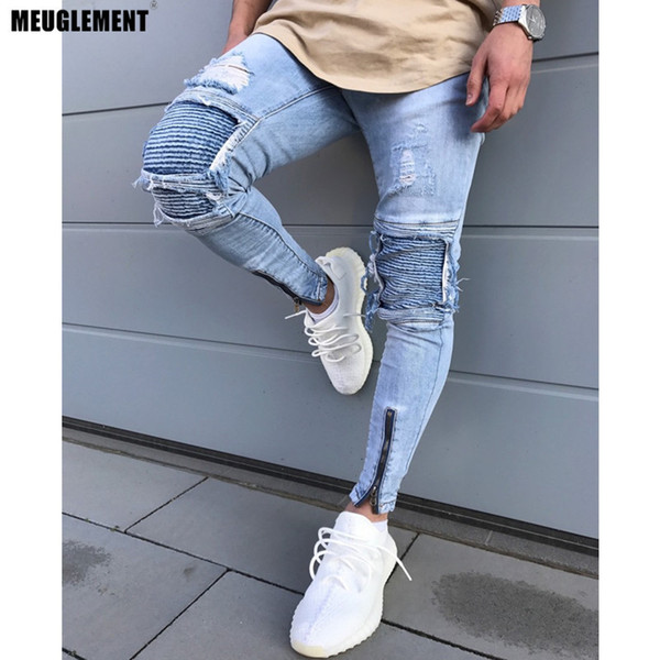 Men Clothes 2018 Hip Hop Sweatpants Skinny Motorcycle Denim Pants Zipper Designer Black Jeans Mens Casual Men Jeans Trousers C19041201