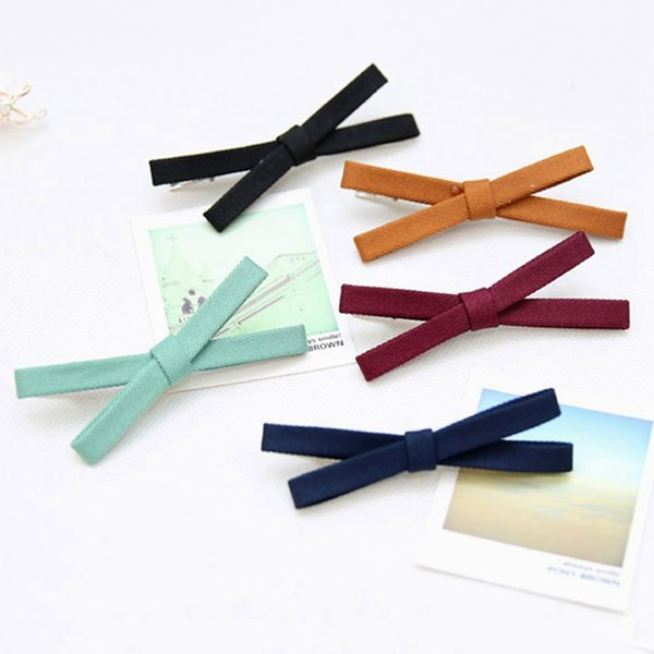 Korean Style Cloth Bow Barrettes Women Headwear Bow-knot Hair Clip Elegant Girl Ribbon Bow Hairpins Hair Accessories 10 Colors
