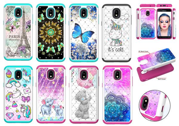 Hybrid Bling Back Case For Samsung J3 J7 J720 Diamond Sparkle Shining Glitter Cover Defender for Samsung J3Prime J7Prime J7 Perx Dual Layer