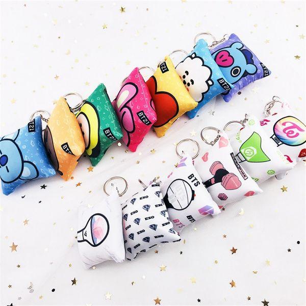 Kpop BTS Bangtan Boys BLACKPINK GOT7 EXO TWICE SEVENTEEN Pillow Keychain Creative Bag Pendant Keychain Accessory