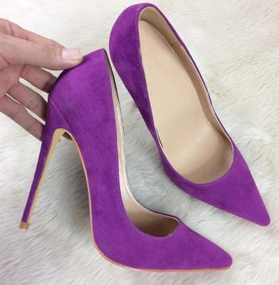 Cheap Price Women Flock Suede Pointed Toe Stiletto Heels Dress Pumps Shallow Slip-on 12cm Ultra High Heel Banquet Shoes