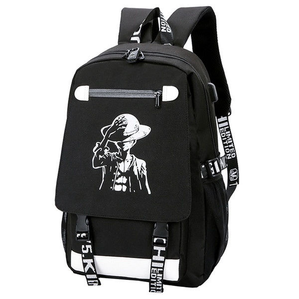 Fashion Night Light Backpack Cartoon Anime One Piece Printed Oxford Creative Casual Student Schoolbag Shoulder Laptop Travel Bag