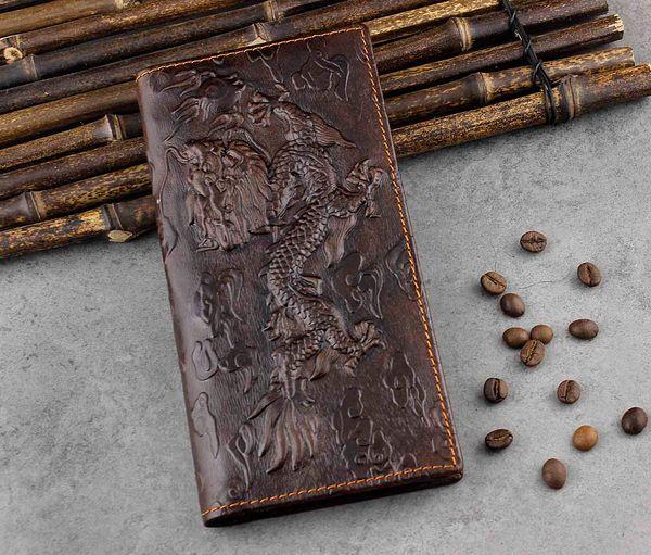 Popular de haute qualité Billfold bourse Long dragon réel en cuir Wallet Hommes