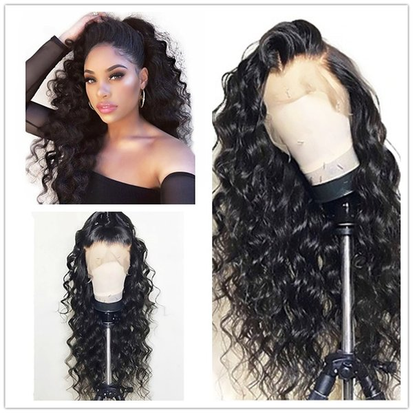 Cheap Sexy 180% Density 1b# Black Long Kinky Curly Glueless High Temperature Fiber Hair Synthetic Lace Front Wigs Natural Hairline For Women