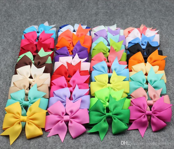Hot 40 Colors Bows Hair Pin for Girls Hair Accessories Bows with Clips Flower Hair Clip