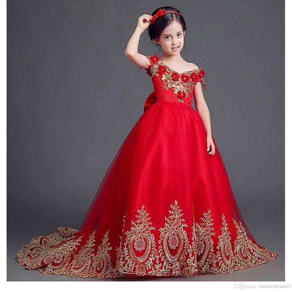 Étincelle filles Pageant Robes de Mariée avec Bow perles de cristal Zipper robes fille fleur robe boule Applique robe de première communion pour les filles Customiz