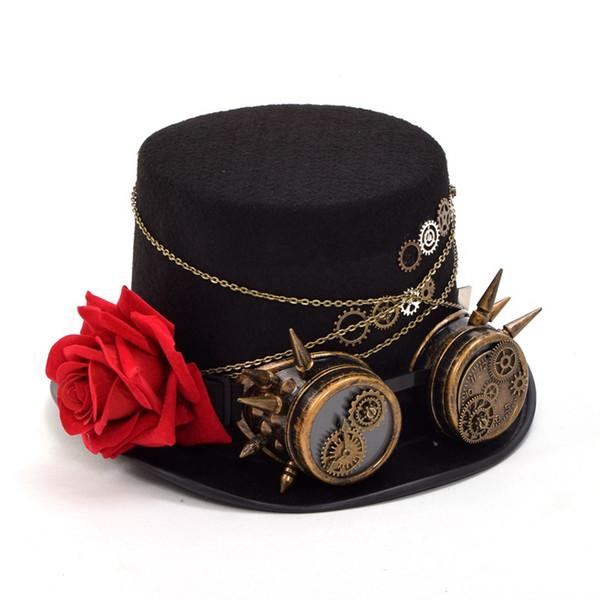 black top hat Fedora Unisex Women Men Steampunk Gears Floral Black Top Hat  with Glasses Decoration Vintage Headwear c5e9e21a63e8