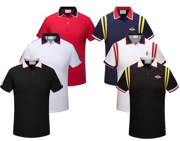 best selling 2019 Brand New Men Polo Shirts Fashion Classic Short Sleeved Casual Polo Shirt Snake Bee Floral Embroidery Mens Polos Shirt 3XL