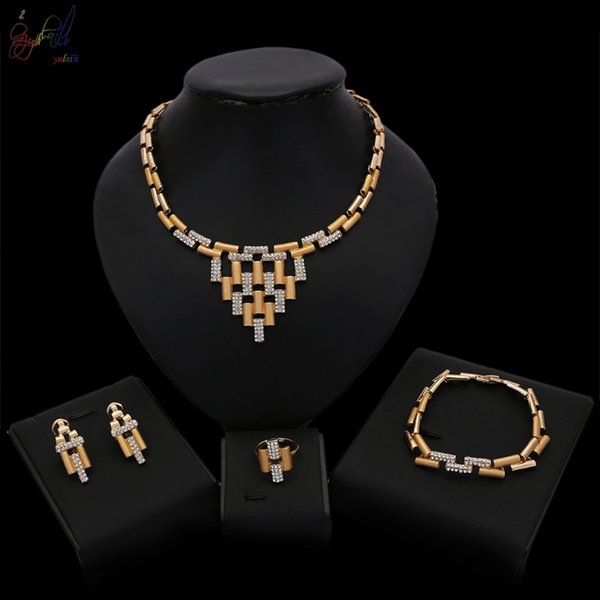 Yulaili High Quality Trendy Unique Gold Plated Crystal Pendant Necklace Bracelet Stud Earrings Ring Nigeria Wedding Jewelry Sets For Women