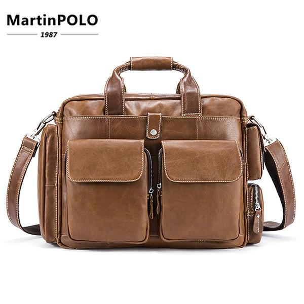 54bb3b55927f 2019 мужские путешествия коричневый кожаный портфель из натуральной кожи  натуральной кожи натуральная сумка для ноутбука сумки