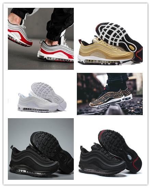 NIKE Air max 97 Noticias 7 zapatos para correr OG TTriple balck blanco verde bala de plata oro metálico japón zapatillas de deporte zapatos para hombre gris mujer 36-45 UN86